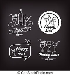 Happy hour party invitation. Cocktail chalkboard...