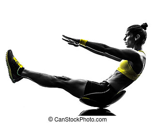 woman fitness crunches exercises silhouette - one caucasian...