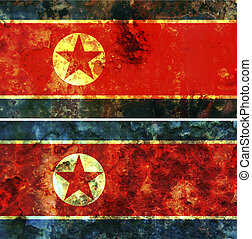 Nort Korea flag - some very old grunge flag of Nort Korea
