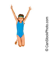 little girl - jumping little girl in swimsuit isolated on...