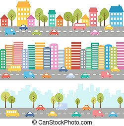 City with cars and street - Illustration of city with cars...