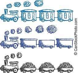 Illustration of train and wagons do