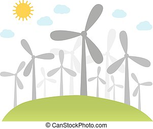Illustration of wind power plants on hill with place for...