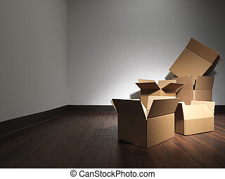 moving house boxes empty room - Stock Image - Shot of empty...