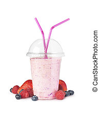 smoothie on white and fruit - Stock Image - shot of a...