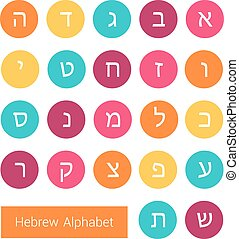 Hebrew alphabet - Set of round colorful icons with letters...