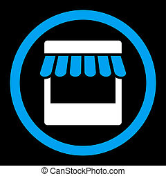Store flat blue and white colors rounded glyph icon - Store...