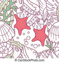 Doodle sea seamless pattern with starfish and shells