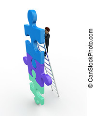 3d man climb puzzle with ladder concept on white background,...
