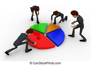 3d man planing percentage of pie graph concept