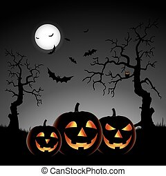 Halloween night with pumpkins on gray background