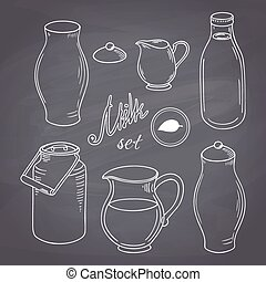 Set of hand drawn dairy farm objects. Milk goods clip art....