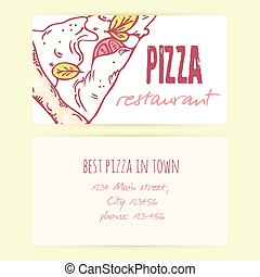 Business card templates with different doodle pizza slices. Vector illustration