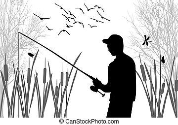 Angler - Silhouette of angler among the cane on fishing