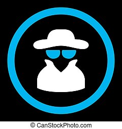 Spy flat blue and white colors rounded vector icon - Spy...