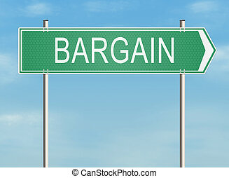 Bargain Road sign on the sky background Raster illustration...