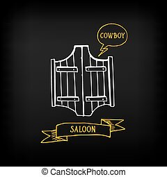 Western saloon door. Sketch vector design.