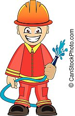 Firefighter in uniform with fire hose - Cartoon illustration...
