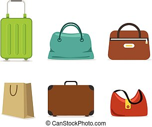 Color travel bags collection isolated on white