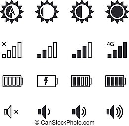 Different mobile phone application pictograms. Isolated on white