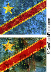 flag of democratic republic of congo - some very old grunge...