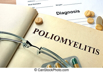 Word Poliomyelitis on a paper and pills on the wooden table.