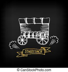Stagecoach, covered wagon. Sketch vector design. -...