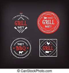 Barbecue party icon. BBQ menu design. Vector with elements.