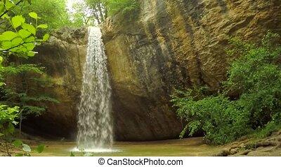 Beautiful Waterfall Falling Off Rock In Crimea Forest