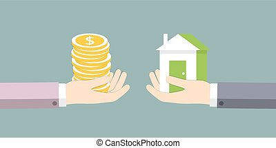 The exchange of house on the money. Vector illustration.
