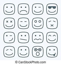 Thin line emotional square yellow faces icon set