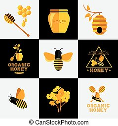Honey label design. Bee badge.