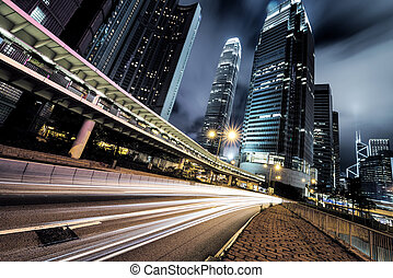 hongkong - traffic in Hong Kong at night