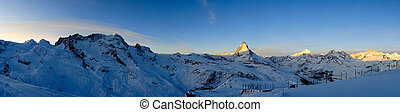 Panorama from Gornergrat at sunrise, Zermatt, Wallis,...