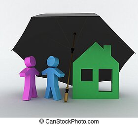 Concept of life-insurance and home - Conception of...