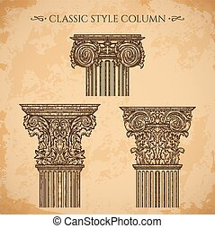 classic style column vector set - Antique and baroque...