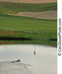 Eighteenth Hole is reflected in the pond - The family of...