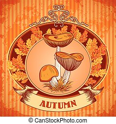 """autumn"" with mushrooms, autumn lea - Vintage poster..."