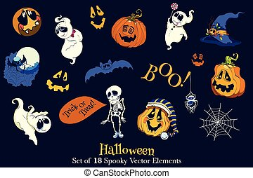 Vector Set of 18 Halloween Funny Scarry Elements Skeleton,...