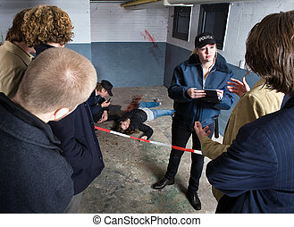 Crime Scene - Bystanders looking at a crime scene with a...