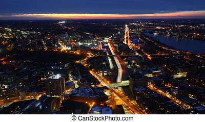 A timelapse view of Boston at night - A timelapse view of...