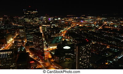 Night view of the Boston Skyline - Timelapse view of the...