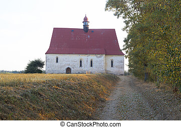 Small country church in village Dobronice, central Europe