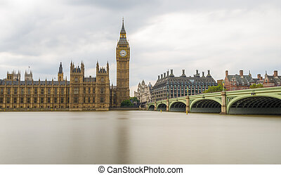 Long Exposure shot of Big Ben and Houses of Parliament,...