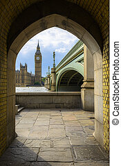 Big Ben and Houses of Parliament in a Frame, London, UK