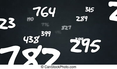 Random numbers flying by on chalkboard background