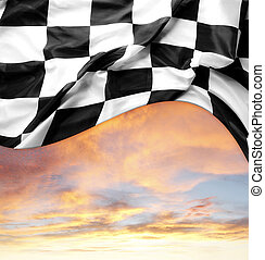 Checkered flag and bright sky