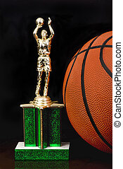Basketball Trophy. - Basketball trophy and B ball.