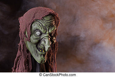 Scary Witch Head Prop - Scary witch head halloween prop with...