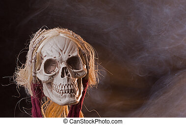 Scary Grim Reaper - Scary grim reaper skull on a smoky...